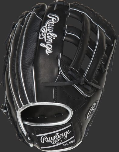 PRO3039-6BSSP 12.75-inch Heart of the Hide ColorSync H-web outfield glove with a black Speed Shell back and platinum binding/welting