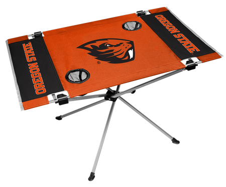 NCAA Oregon State Endzone table in team colors with a team logo and two cup holders