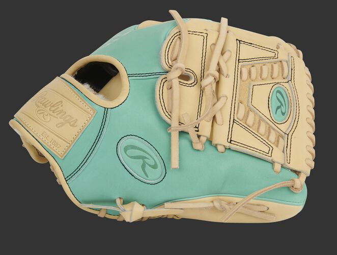 Thumb of an exclusive Pro Preferred Wing Tip infield/pitcher's glove with a camel laced 2-piece solid web - PROS205W-30CM