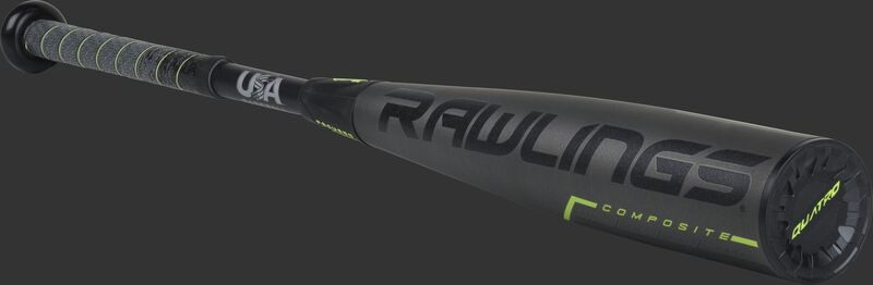3/4 angle view of a US9Q8 -8 USA Rawlings Quatro Pro bat with a black/grey barrel and black end cap