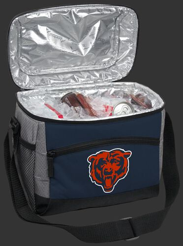An open Chicago Bears 12 can cooler filled with ice and drinks - SKU: 10111062111