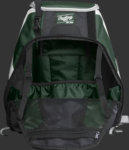 An open R500 Rawlings Players equipment backpack with dark green interior