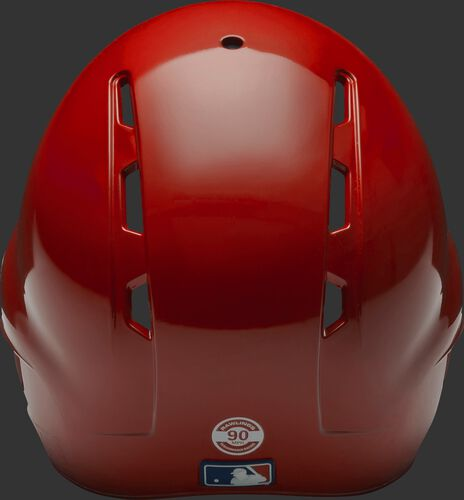 Back of a scarlet S90PA Rawlings Performance Rating helmet with back vents