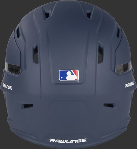 Back of a matte navy CAR07A MACH Carbon adult baseball helmet with the Official Helmet of MLB logo