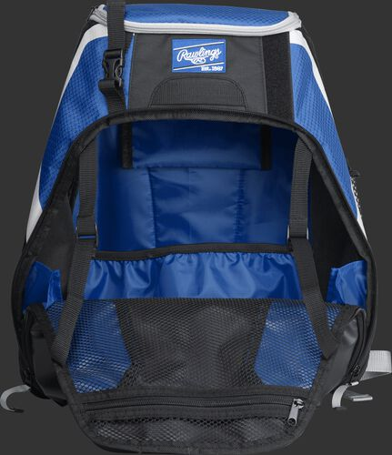 An open R500 Rawlings Players equipment backpack with royal interior