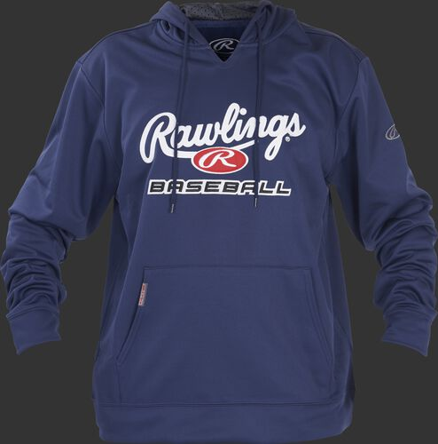 Front of Rawlings Navy/White Youth long Sleeve Hoodie - SKU #YPFHPRBB-GR-88