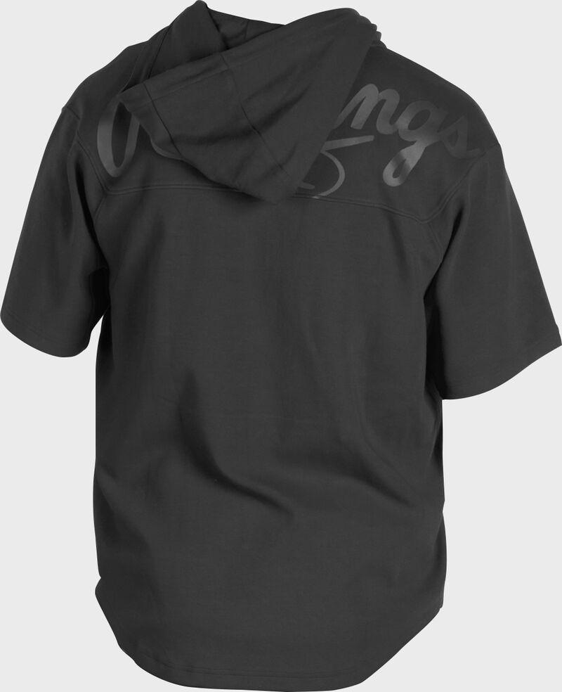 Back of a black Rawlings Gold Collection short sleeve hoodie with a black script Rawlings logo across the back - SKU: GJJ-B