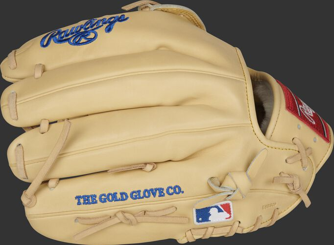 Camel fingers of a Rawlings Pro Preferred glove with the MLB logo on the pinkie - SKU: PROSKB17C
