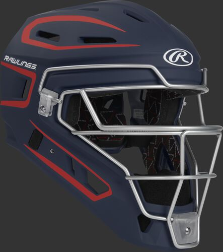 Front right of a navy/scarlet CHV27J Rawlings Velo 2.0 catcher's helmet