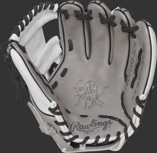 PRO715SB-2GW Rawlings 11.75-inch fastpitch infield glove with a grey palm and black laces