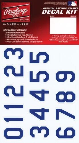 Rawlings MLB Kansas City Royals Decal Kit With Blue Numbers SKU #MLBDC-KC