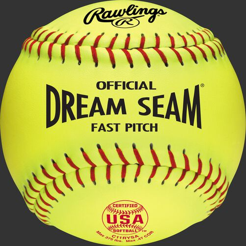 """A USA NFHS official 11"""" softball with red stitching and red USA softball stamp - SKU: C11RYSA"""