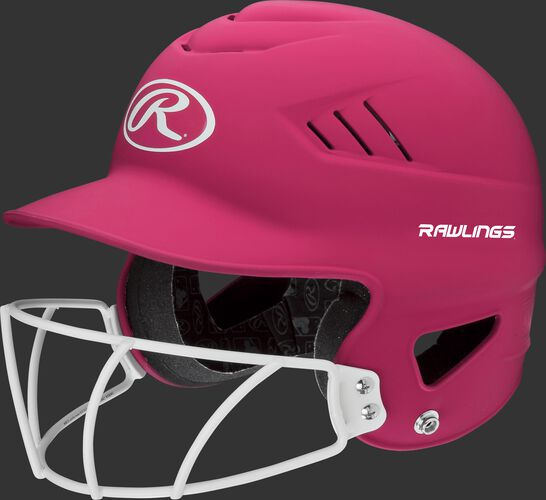 A pink RCFHLFG Coolflo batting helmet with a white facemask