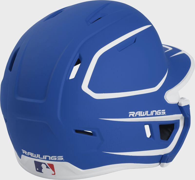 Back right of a two-tone matte royal/white MACHEXTR Rawlings junior size batting helmet