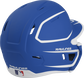 Back right of a two-tone matte royal/white MACHEXTR Rawlings junior size batting helmet image number null