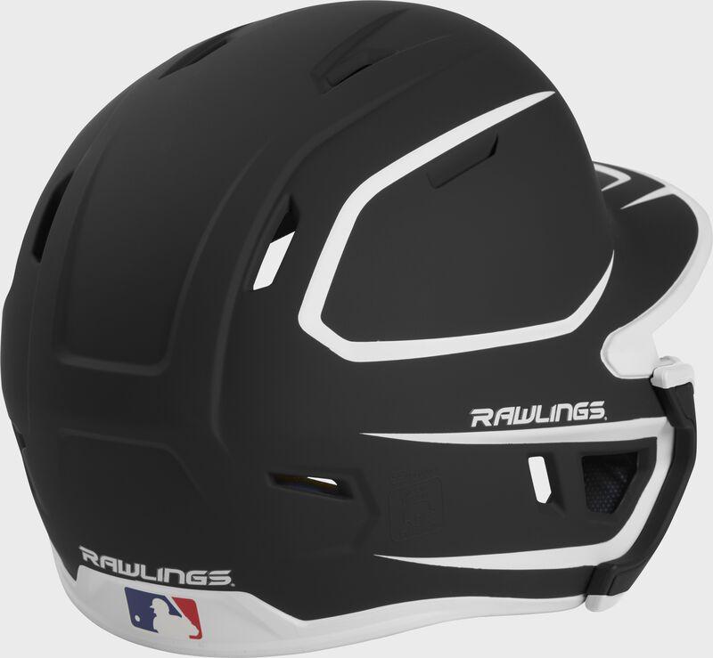 Back right of a two-tone matte black/white MACHEXTR Rawlings junior size batting helmet