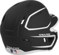 Back right of a two-tone matte black/white MACHEXTR Rawlings junior size batting helmet image number null