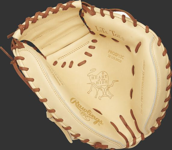 Palm view of a camel PROSP13C 32.5-inch Heart of the Hide catcher's mitt with tan laces