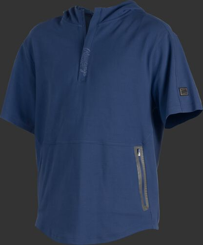 A navy Gold Collection short sleeve hoodie with a 1/4 zip and gray welded zipper pockets - SKU: GCJJ-N