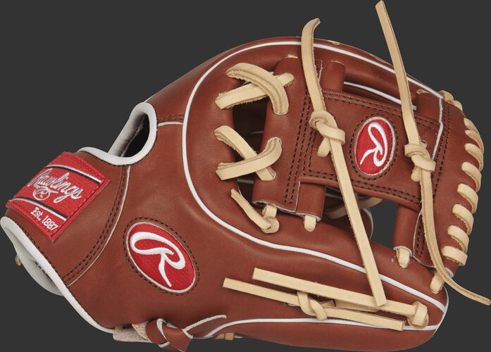 Thumb view of a PROS314-2BR Pro Preferred 11.5-inch infield glove with a bruciato I web