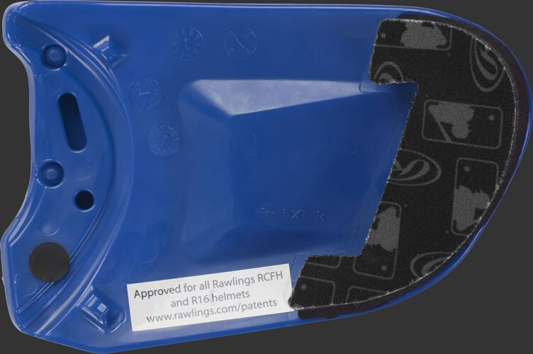 Padding on a royal REXT Rawlings R-EXT universal batting helmet face guard extension