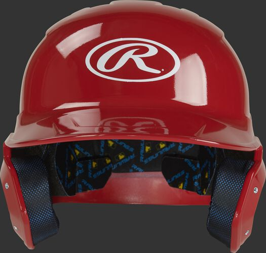 MCC01 Mach baseball batting helmet with a scarlet clear coat shell and Oval R logo on the front