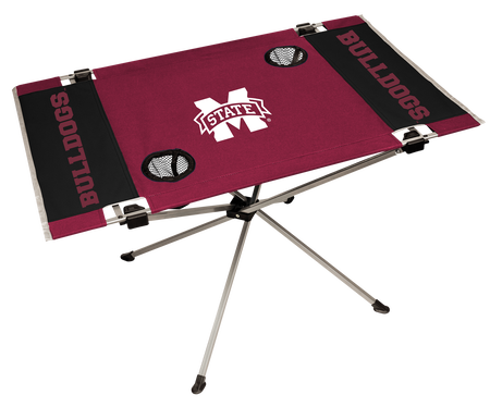 NCAA Mississippi State Bulldogs Endzone tailgate table with a team logo in the middle and two cup holders