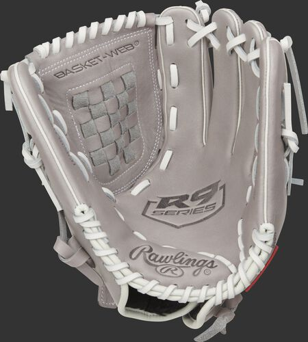 Gray palm of a Rawlings R9 Series softball glove with a gray web and white laces - SKU: R9SB120-3G