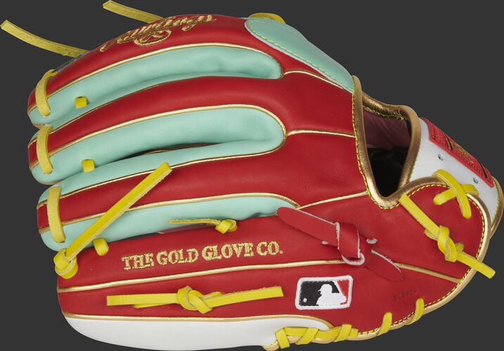 Scarlet/mint fingers of a Rawlings Gameday 57 Kolten Wong glove with the MLB logo on the pinky - SKU: PRO314-7KW