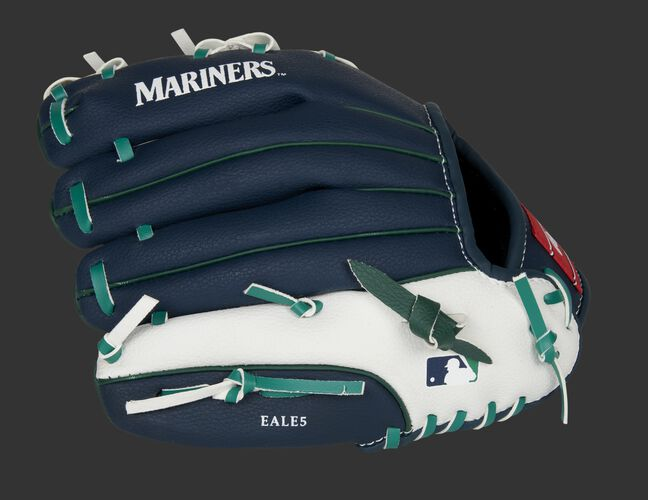 Back of a navy/white Seattle Mariners 10-Inch youth glove with the MLB logo on the pinky - SKU: 22000015111