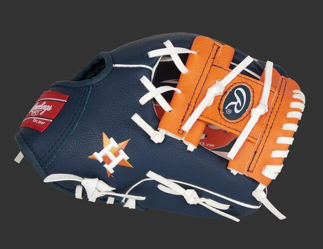 Thumb of a navy/orange Houston Astros 10-Inch team logo glove with an orange I-web - SKU: 22000002111