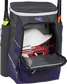 A purple Impulse baseball backpack with a helmet in the main compartment - SKU: IMPLSE-PU image number null