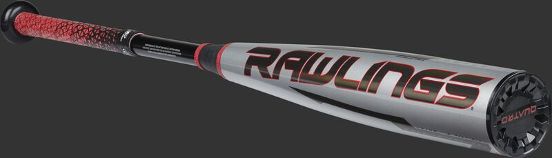 Angled view of a gray -8 Quatro Pro bat with a black Rawlings logo with a black end cap - SKU: US1Q8