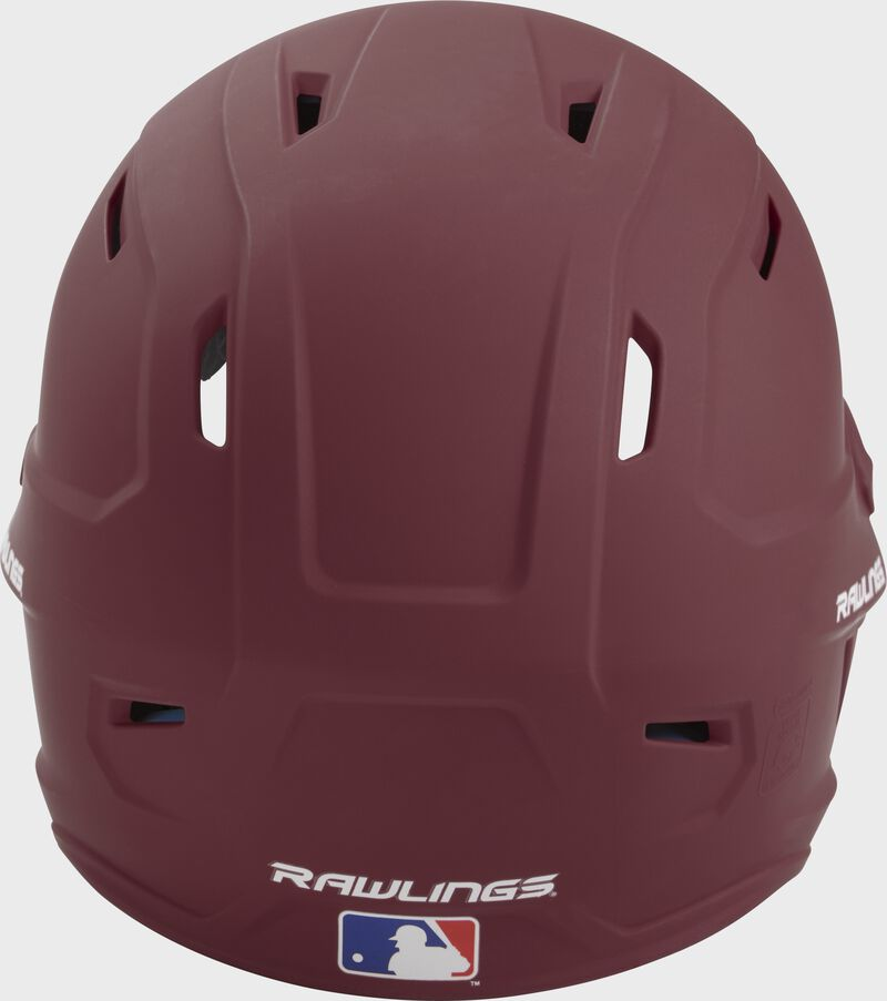 Back of a maroon MACH high performance helmet with the Official Batting Helmet of MLB logo