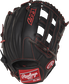 R9YPT6-6B 12-inch R9 Series outfield glove with a black back and designed with a youth pro taper fit image number null