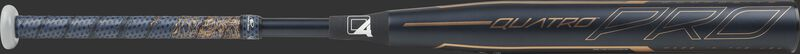 Barrel of a black FPZP11 Rawlings Quatro Pro fastpitch bat with navy/rose gold Lizard Skins grip