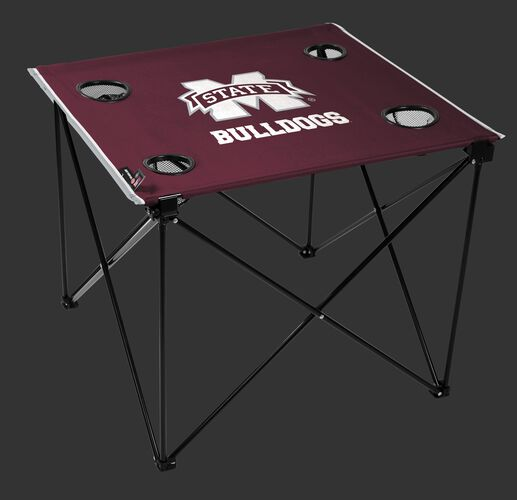 A maroon NCAA Mississippi State Bulldogs deluxe tailgate table with four cup holders and team logo printed in the middle SKU #00713039111