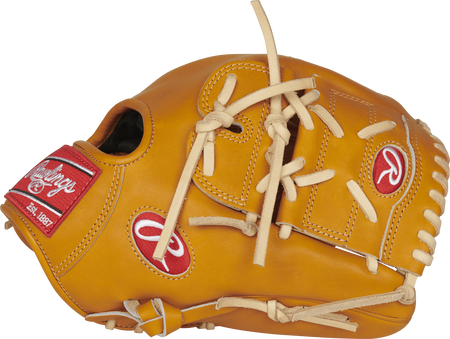 Thumb view of a PRO206-9T Heart of the Hide 12-inch infielder/pitcher's glove with a tan two-piece solid web