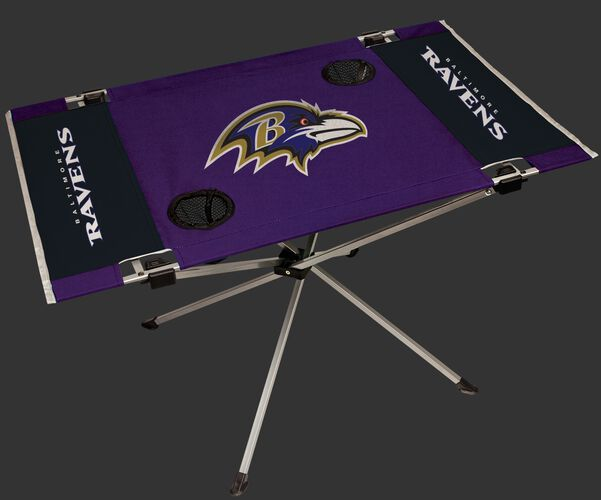 Rawlings Purple and Black NFL Baltimore Ravens Endzone Table With Two Cup Holders, Team Logo, and Team Name SKU #03391092111