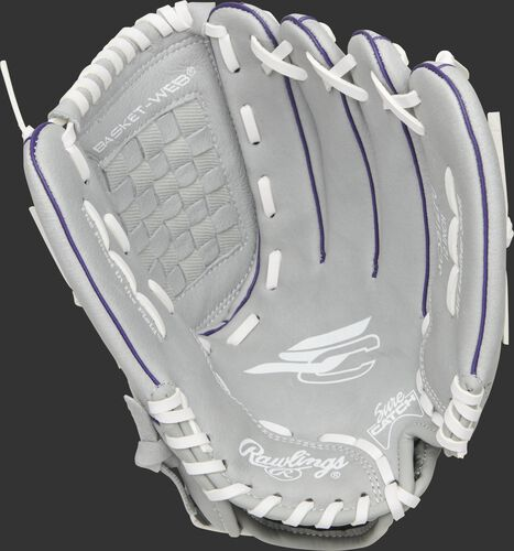 SCSB12PU Rawlings Sure Catch youth softball glove with a grey palm and white laces