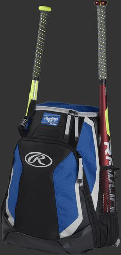 Left side of a black/royal R500 baseball backpack with a red bat in the side sleeve