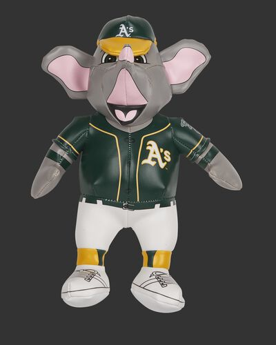 Front of Rawlings MLB Oakland Athletics Mascot Softee With Green Team Jersey and Yellow and Green Team Hat SKU #03770003111