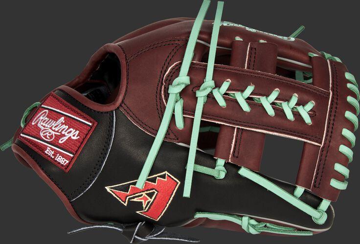 A 2021 Arizona Diamondbacks Heart of the Hide glove with the D-Backs logo on the thumb - SKU: RSGPRONP4-19ARI