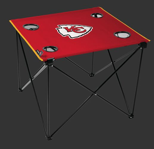 Rawlings Red NFL Kansas City Chiefs Deluxe Tailgate Table With Four Cup Holders and Team Logo Printed In The Middle SKU #00701071111