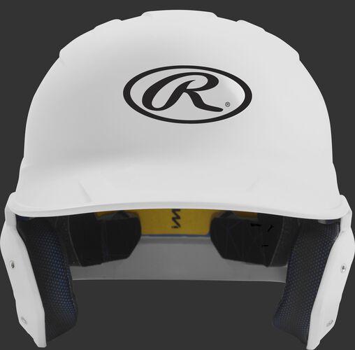 Front of a matte white MACH senior size batting helmet