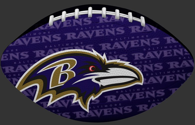 Purple side of a NFL Baltimore Ravens Gridiron football with the team logo