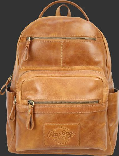 A tan RS10057-TAN Rugged medium backpack with two main compartments and two exterior zippered pockets