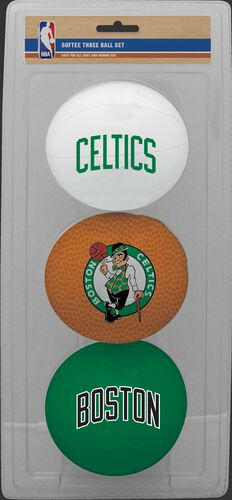 Rawlings White, Brow, and Green NBA Boston Celtics Three-Point Softee Basketball Set With Team Logo SKU #03524193114
