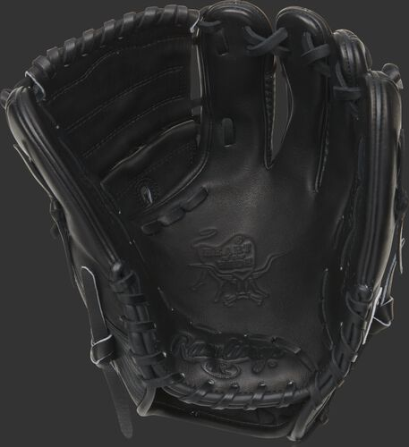 Black palm of a 2021 Rawlings HOH Hyper Shell glove with a black web and laces - SKU: PRO205-9BCF