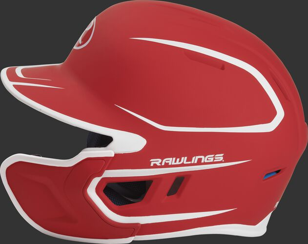 Left side of a two-tone MACHEXTR Rawlings MACH helmet with EXT extension piece for right hand batters